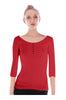 3/4 Sleeve Henley Top W/ Sheer Lace Trim | 30% Off First Order | Red1