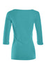 3/4 Sleeve Henley Top W/ Sheer Lace Trim | 30% Off First Order | Turquoise1