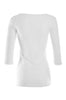 3/4 Sleeve Henley Top W/ Sheer Lace Trim | 30% Off First Order | White1