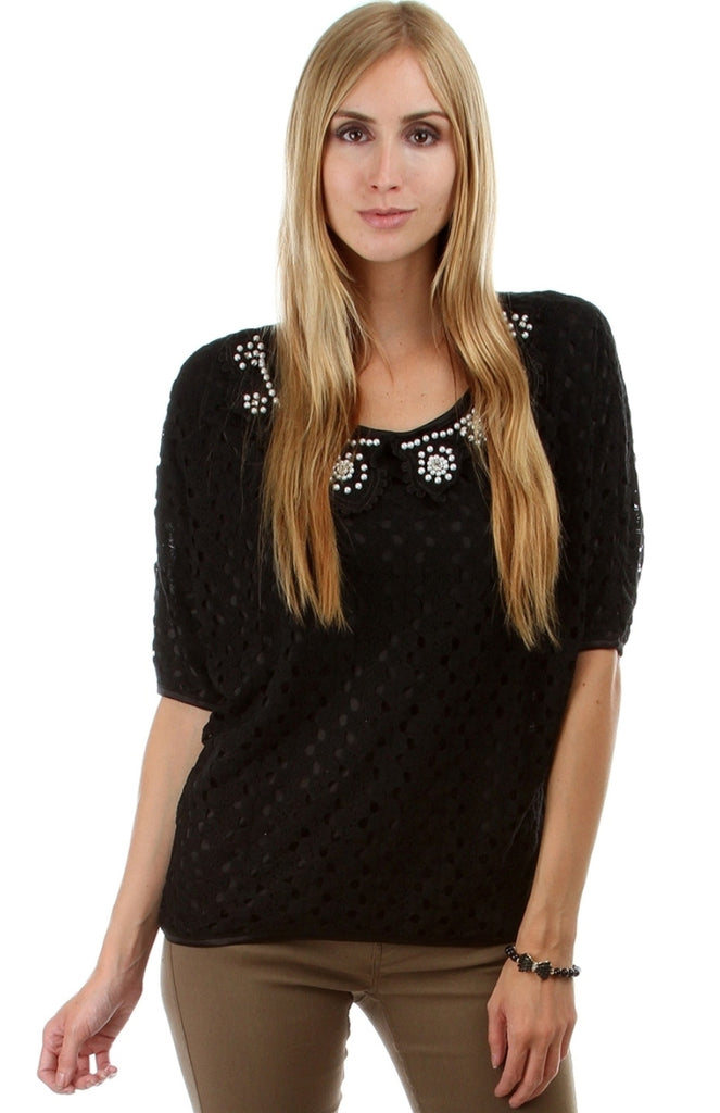 Pearl Collar Crochet Top - BodiLove | 30% Off First Order  - 1