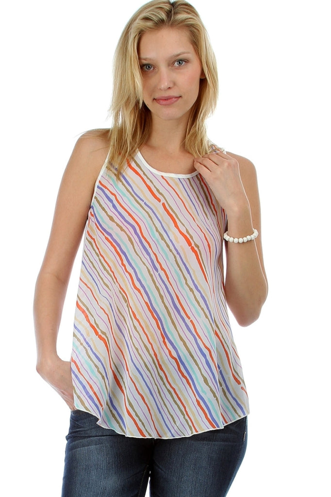 Asymmetric Striped Tank with Open Back - BodiLove | 30% Off First Order  - 9