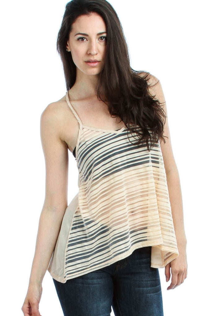 Chiffon Striped Racerback Tank Top - BodiLove | 30% Off First Order  - 4