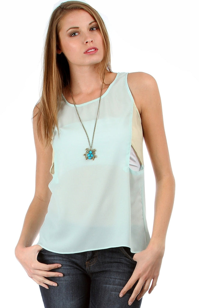 Dual Color Side Cutout Chiffon Top - BodiLove | 30% Off First Order  - 4