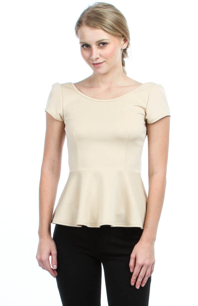 Peplum Top With Bow Tie - BodiLove | 30% Off First Order  - 4