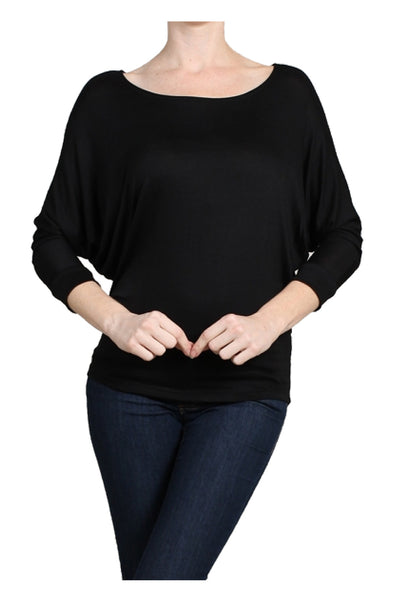 3/4 Dolman Sleeve Boat Neck Top - BodiLove | 30% Off First Order  - 1