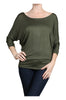 3/4 Dolman Sleeve Boat Neck Top - BodiLove | 30% Off First Order  - 4
