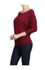 3/4 Dolman Sleeve Boat Neck Top - BodiLove | 30% Off First Order  - 16