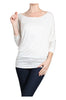 3/4 Dolman Sleeve Boat Neck Top - BodiLove | 30% Off First Order  - 40