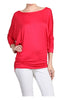 3/4 Dolman Sleeve Boat Neck Top - BodiLove | 30% Off First Order  - 45