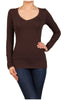 Basic Long Sleeve Scoop or V-Neck Top - BodiLove | 30% Off First Order  - 1