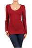 Basic Long Sleeve Scoop or V-Neck Top - BodiLove | 30% Off First Order  - 11