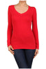 Basic Long Sleeve Scoop or V-Neck Top - BodiLove | 30% Off First Order  - 46