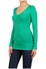 Basic Long Sleeve Scoop or V-Neck Top - BodiLove | 30% Off First Order  - 33