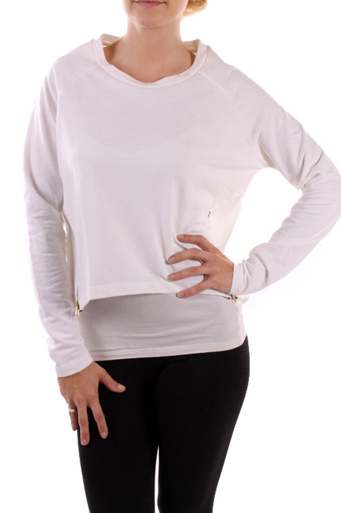 Long Sleeve Cropped Sweatshirt W/ Zippers - BodiLove | 30% Off First Order  - 10