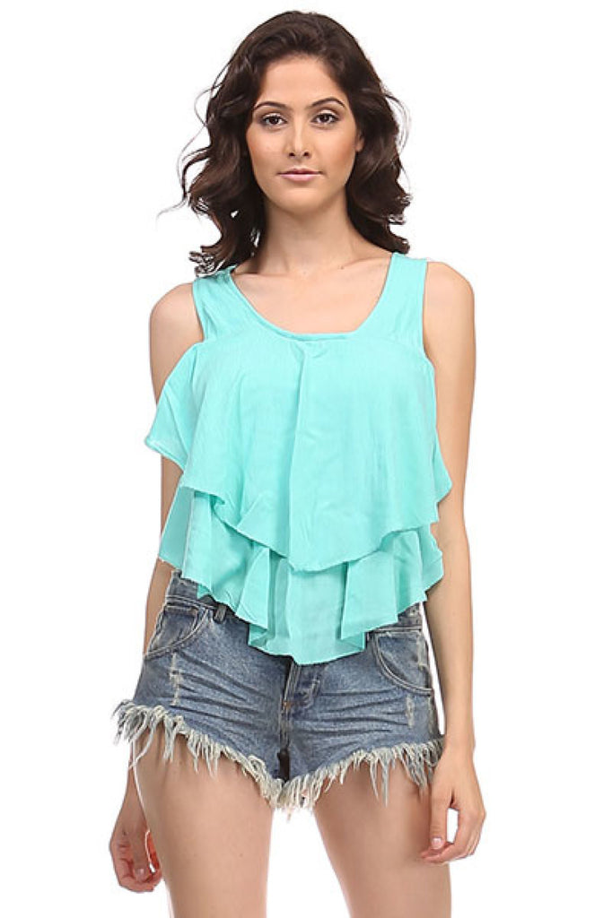 Sleeveless Layered Ruffle Crop Top - BodiLove | 30% Off First Order  - 6