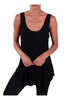 Sleeveless Draped Hi-Low Tank Top | 30% Off First Order | Black2