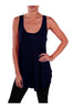 Sleeveless Draped Hi-Low Tank Top | 30% Off First Order | Navy