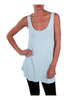 Sleeveless Draped Hi-Low Tank Top | 30% Off First Order | Mint Aqua