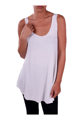 Sleeveless Draped Hi-Low Tank Top