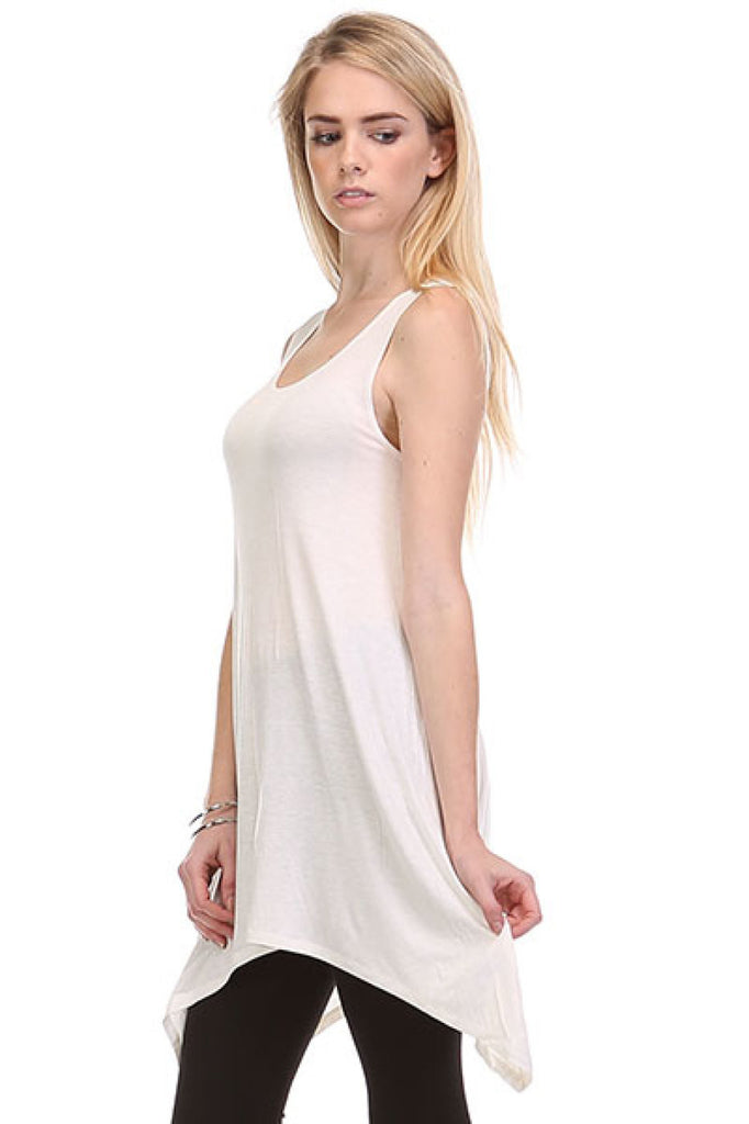 Sleeveless Tunic Top W/ Trapeze Sharkbite Hem - BodiLove | 30% Off First Order  - 11