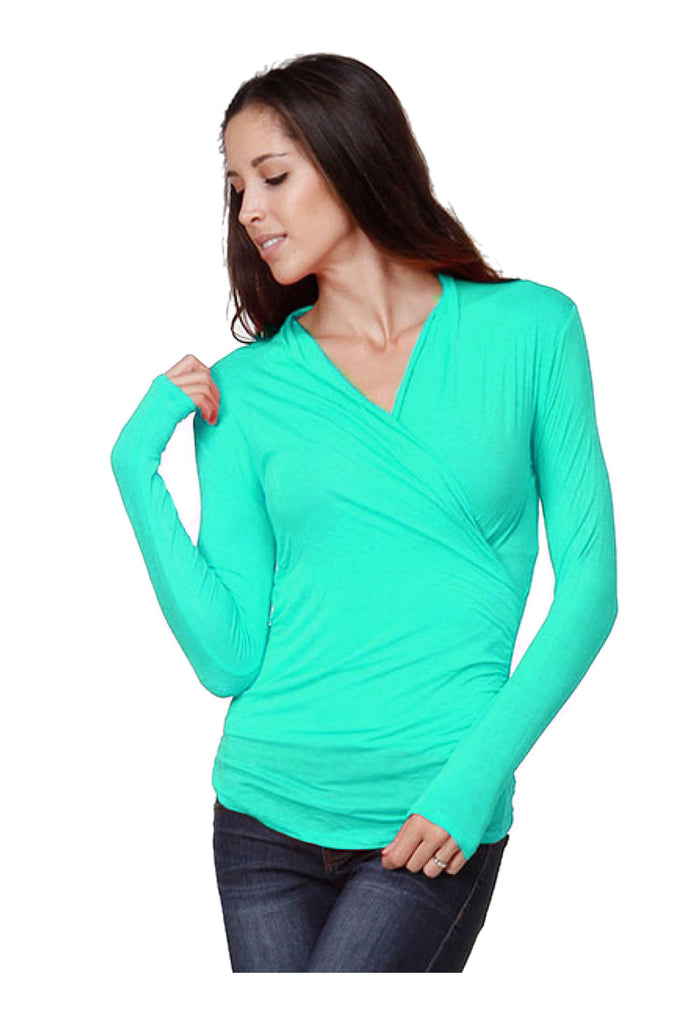 Long Sleeve Wrap Front Knit Top - BodiLove | 30% Off First Order  - 9