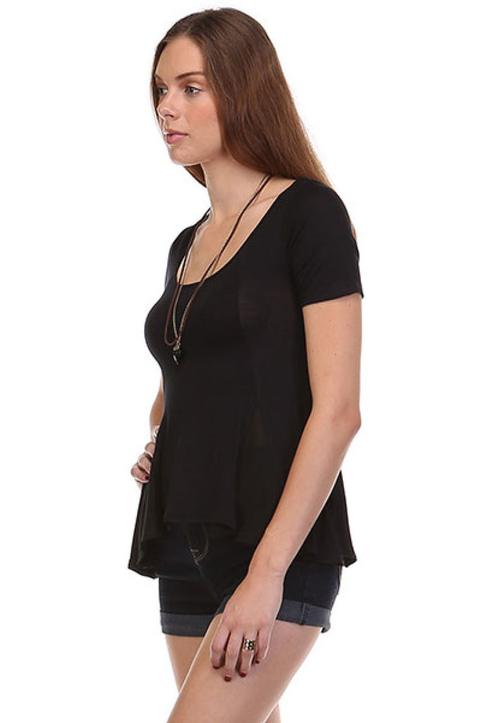 Short Sleeve Peplum Top W/ Chiffon Inserts - BodiLove | 30% Off First Order  - 1