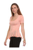 Short Sleeve Peplum Top W/ Chiffon Inserts - BodiLove | 30% Off First Order  - 6
