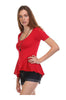 Short Sleeve Peplum Top W/ Chiffon Inserts - BodiLove | 30% Off First Order  - 8