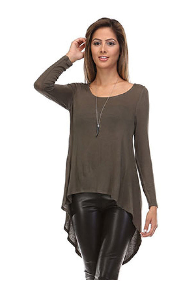 Long Sleeve Hi-Low Knit Tunic Top | 30% Off First Order | Olive1