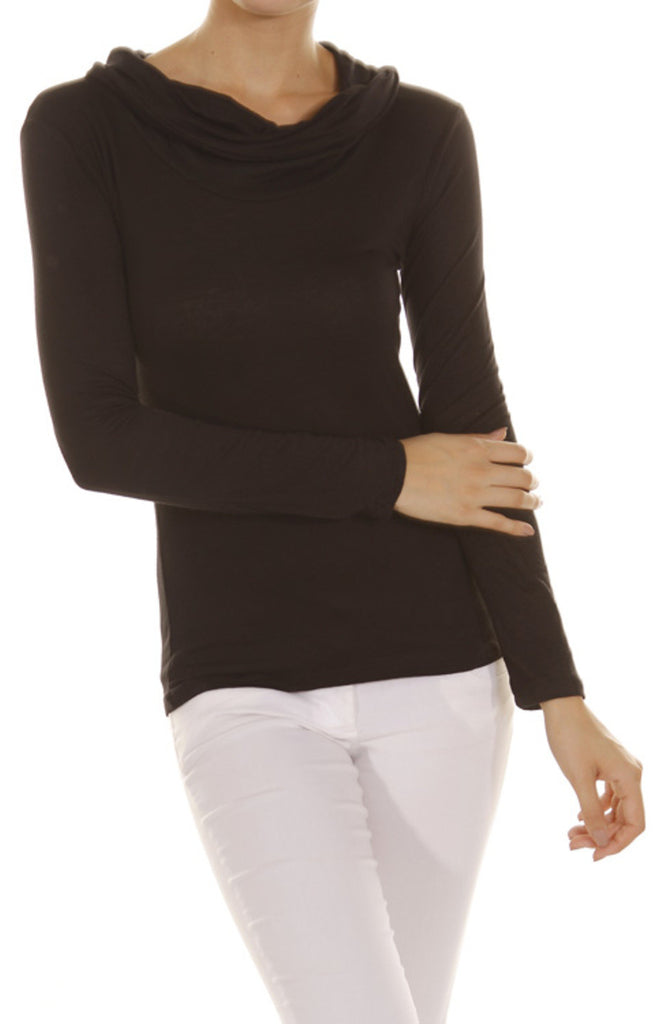 Long Sleeve Draped Cowl Neck Top - BodiLove | 30% Off First Order - 1