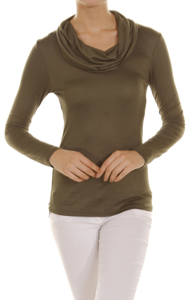 Long Sleeve Draped Cowl Neck Top - BodiLove | 30% Off First Order - 8