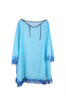 Sheer Lightweight Poncho Beach Coverup | 30% Off First Order | Blue-Fringe