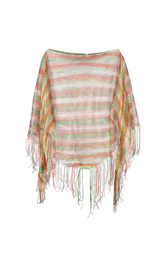 Sheer Lightweight Poncho Beach Coverup | 30% Off First Order | Green & Orange