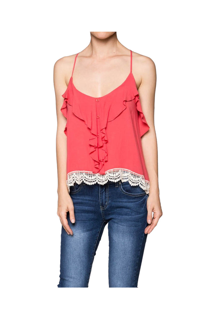 Sleeveless Ruffle Front Crop Top W/ Crochet Trim | 30% Off First Order | Coral