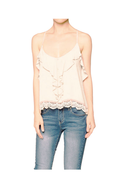 Sleeveless Ruffle Front Crop Top W/ Crochet Trim | 30% Off First Order | Natural