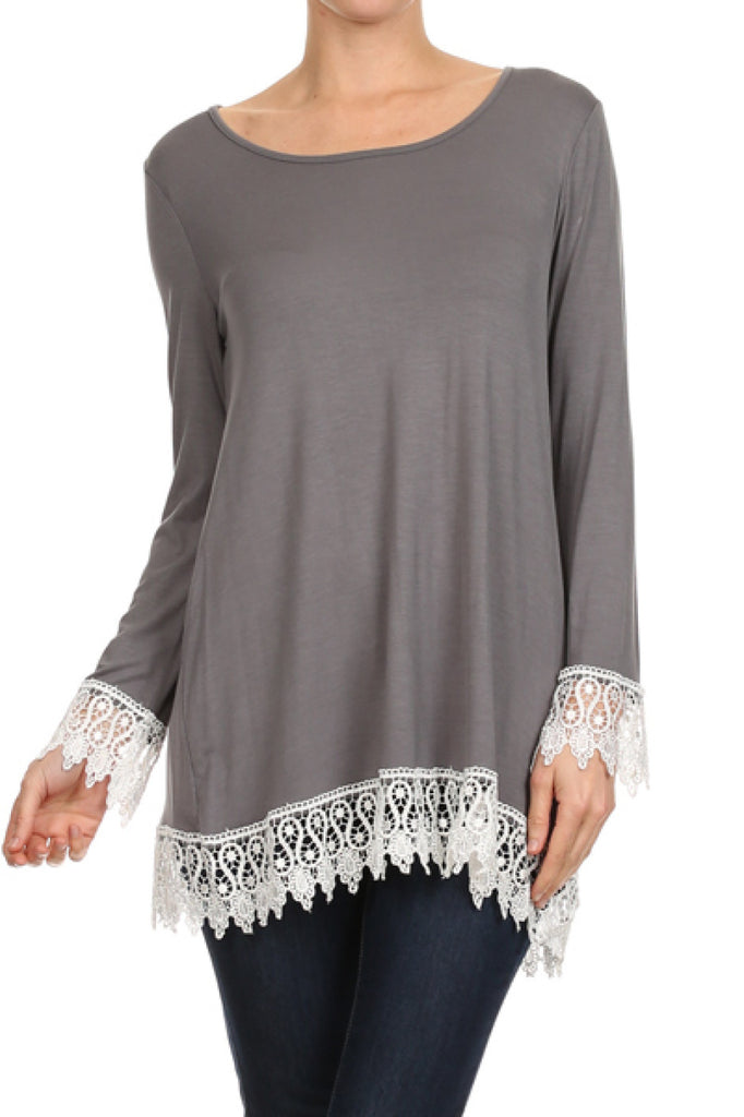 Long Sleeve A-Line Tunic W/ Crochet Lace Trim - BodiLove | 30% Off First Order  - 9