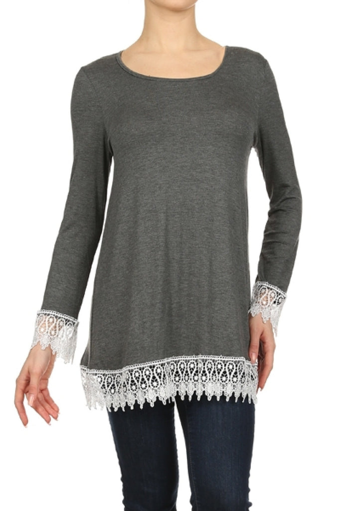 Long Sleeve A-Line Tunic W/ Crochet Lace Trim - BodiLove | 30% Off First Order  - 13