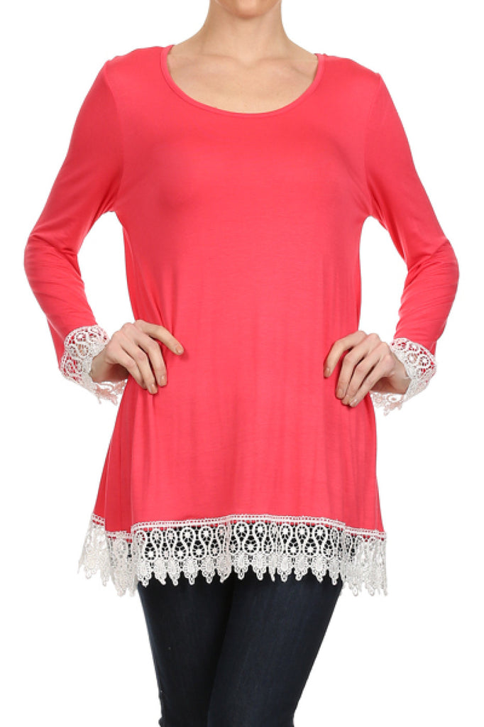 Long Sleeve A-Line Tunic W/ Crochet Lace Trim - BodiLove | 30% Off First Order  - 20