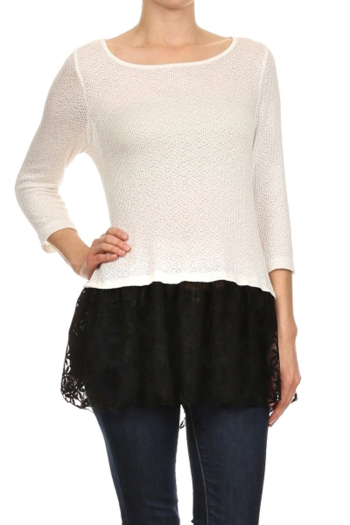 3/4 Sleeve Tunic Top W/ Contrast Colored Trim - BodiLove | 30% Off First Order  - 9