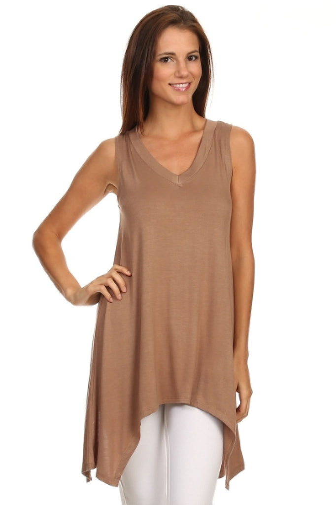 Sleeveless Tunic W/ Trapeze Sharkbite Hem | 30% Off First Order | Mocha