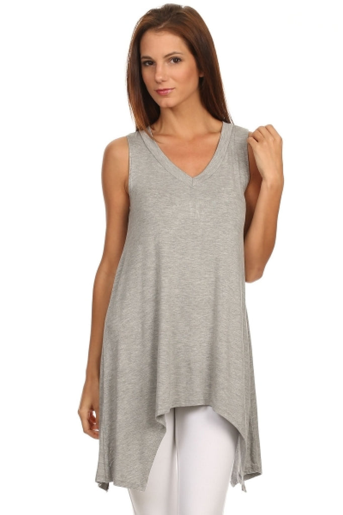 Sleeveless Tunic W/ Trapeze Sharkbite Hem | 30% Off First Order | Heather Gray