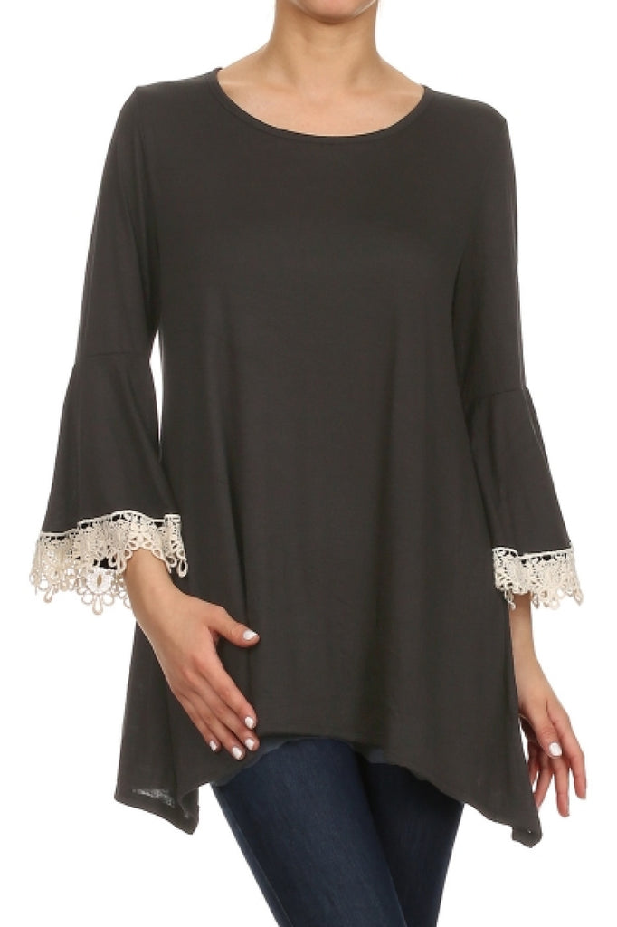 3/4 Sleeve Crochet Trimmed Tunic Top - BodiLove | 30% Off First Order  - 1