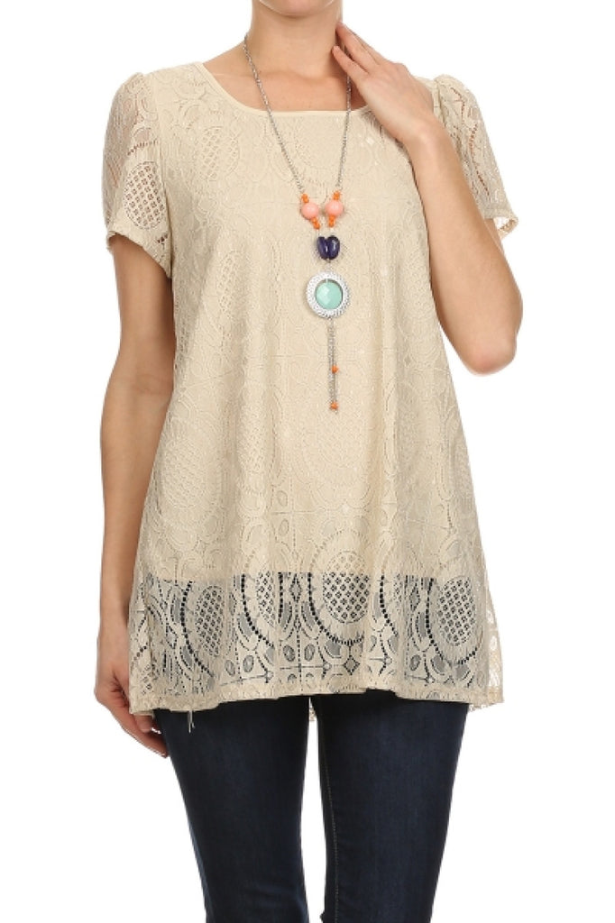 Sheer Lace Cap Sleeve  Top W/ Necklace - BodiLove | 30% Off First Order  - 1