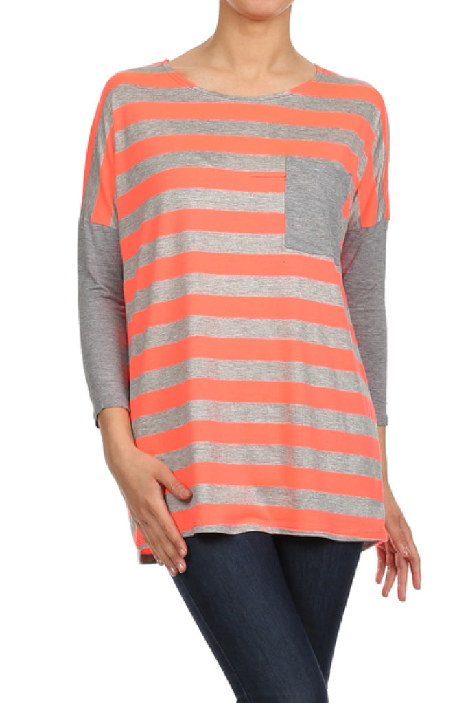 3/4 Sleeve Striped Knit Tunic Top - BodiLove | 30% Off First Order  - 11