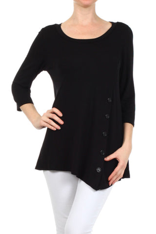 3/4 Sleeve Tunic Top W/ Asymmetric Button Trim