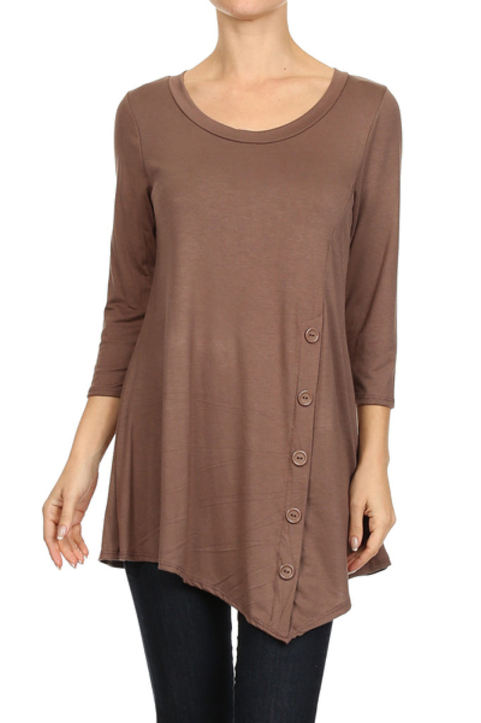 3/4 Sleeve Tunic Top W/ Asymmetric Button Trim - BodiLove | 30% Off First Order  - 6