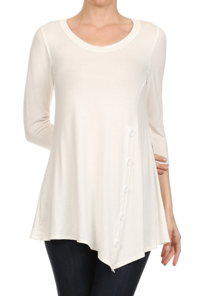 3/4 Sleeve Tunic Top W/ Asymmetric Button Trim - BodiLove | 30% Off First Order  - 36