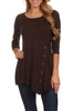 3/4 Sleeve Tunic Top W/ Asymmetric Button Trim - BodiLove | 30% Off First Order  - 59