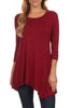3/4 Sleeve Tunic Top W/ Asymmetric Button Trim - BodiLove | 30% Off First Order  - 55