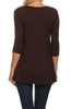 3/4 Sleeve Tunic Top W/ Asymmetric Button Trim - BodiLove | 30% Off First Order  - 60